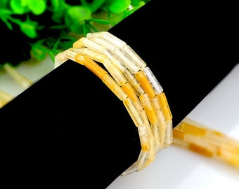 15Pcs - 4x13mm yellow crystal Beads, Tube Beads, cylinder beads, Genuine Natural Stone beads