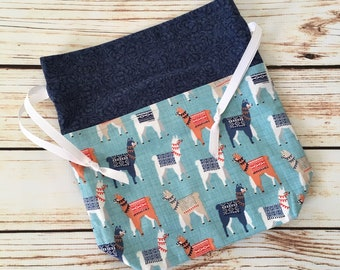Blue Llama Drawstring Bag, Project bag, Knitting Bag, Crochet Bag, Tote bag