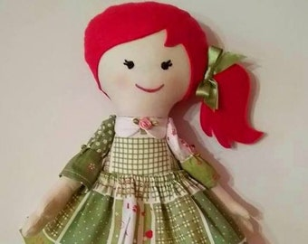 Fabric doll rag dolls blond haired girl gift for girl gift for daughter cloth doll handmade doll Modern doll old fashioned doll  first doll