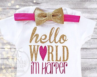 Baby Shower Gift, Hello World Personalized Bodysuit with Headband, NO SHED Glitter Take Home Outfit, Newborn Girl Clothes, Newborn Outfit