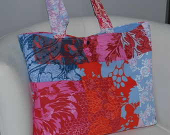 Tote or beach bag pink/blue/red upholstery fabric.