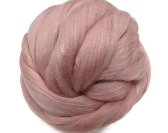 Merino Silk Roving Shell - Soft Pastel Color,  Mulberry Wool Silk Blend Fiber for Spinning & Felting