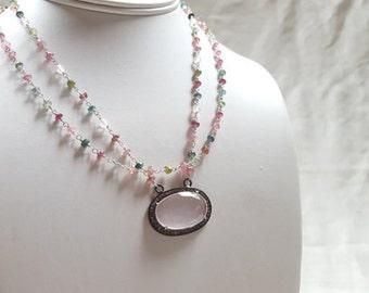 Diamond Tourmaline Rose Quartz Multi Strand Station Chain Pave Pendant Statement Necklace Heart Chakra  High End Fine Jewelry by Life Bijou