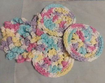 Assorted face puffs, makeup remover pads  face scrubbies, reusable face pads, makeup remover pads, Face Care,