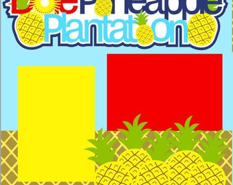 Scrapbook Page Kit Dole Pineapple Plantation Premade Scrapbook Layout 2-page 12X12