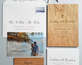 NEW Courtney Nautical Wood Wedding Invitation Sample - Real Wood Veneer Paper, Beach Wedding Invite with Calligraphy Script