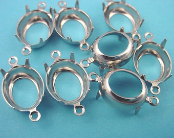 18 Silver Tone Oval Prong Settings 10x8 2 Ring Open Backs