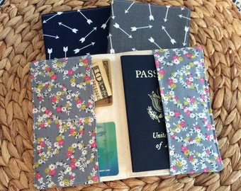 Passport Cover Holder, Floral Arrows Fabric, International Travel, Protector, Case, Boarding Pass Holder, Study Abroad Gift For Friend