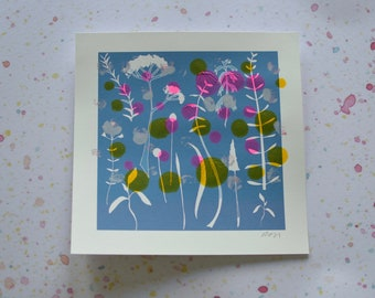 Unique One Off Monoprint - Floral Cyanotype II