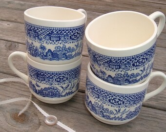 Vintage Blue Willow Cups or Mugs, Set of 4