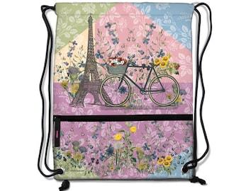 Paris Trip Drawstring Backpacks