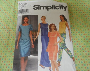 Simplicity 9502 Misses Tunic, Skirt, and Pants Pattern Sizes 8, 10, 12,14