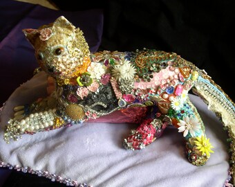 Lil Kit ~ Cloth cat sculpture with gorgeous embellishments