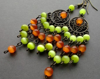 long Bright, Colorful earrings. earrings summer. Chandelier Earrings Dangle. earrings  stones cat's eye orange, light green. gift for women.
