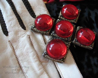 Vintage Pin Brooch Red Cross X Mid Century Costume Jewelry Evening Wear  Steampunk Victorian Downton Abbey Style Victoria  WhenRosesBloom