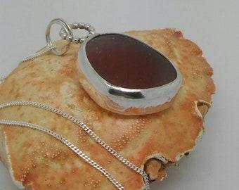 Sea glass necklace, Sea glass pendant, Sea glass jewelry, Silver necklace, Silver pendant, Sea glass gift, Bridesmaid gift, Birthday gift.