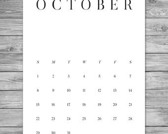 2017 2018 Printable Minimalist Monthly Calendar, Desk Calendar, Wall Calendar, Calendar Template, Calendar Download, A4, 8.5 x 11