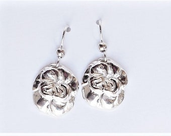 Sterling pansy earrings, blossom accessory, floral jewelry, flower accessory, pansy flower gift, gardener gift, flower jewelry