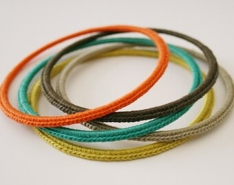 Handmade Crocheted Bracelets / Bangles - Set of 5 Stacked Bangles.