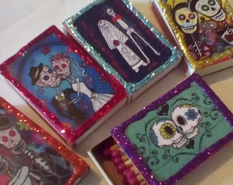 Day of the Dead Wedding Favors, matchboxes, Dia De Los Muertos