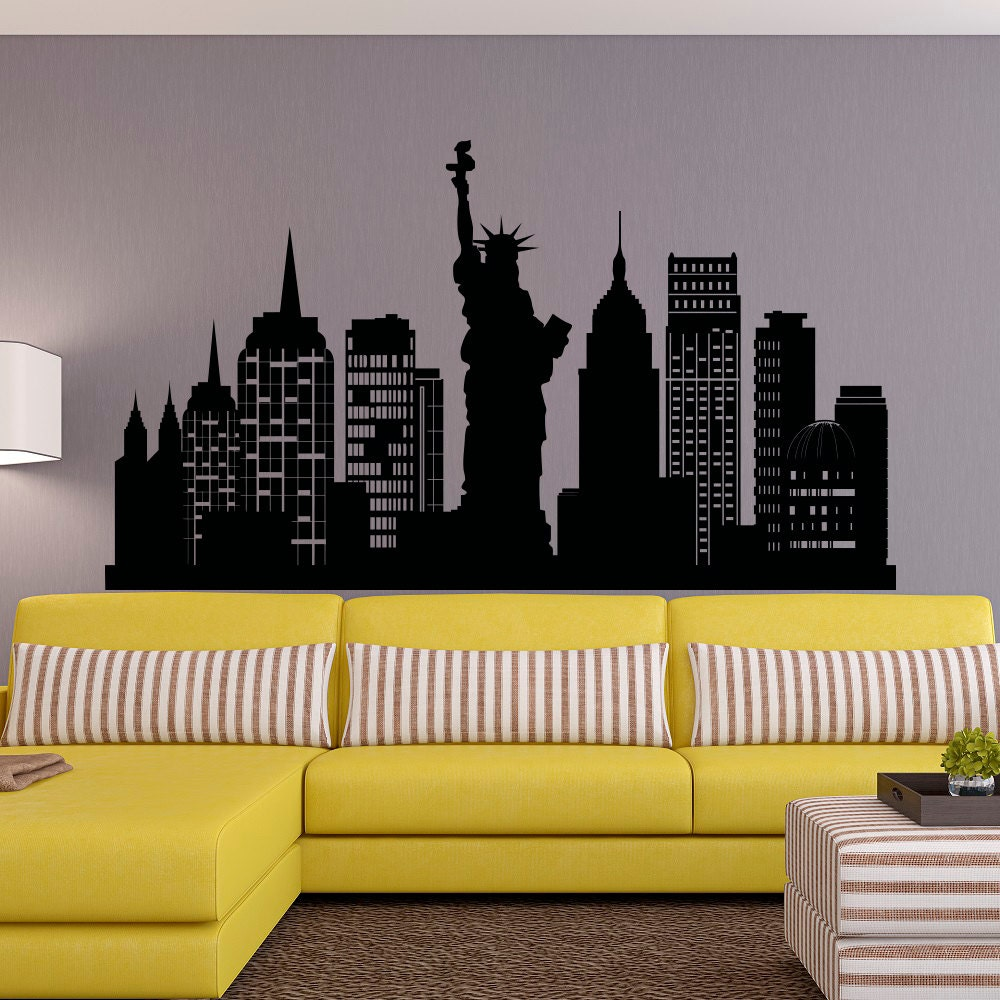 New York City Skyline Wall Decal NYC Silhouette New York Wall