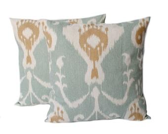 2  blue tan white Ikat pillow covers, cushion, decorative throw pillow, decorative pillow, accent pillow, Blue Pillow