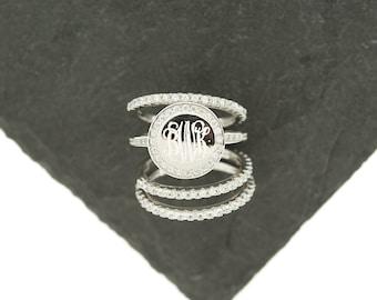 925 Silver CZ Stacking Monogram Ring, Wedding Set, Monogram Stackable Ring, Sterling Silver