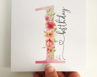 Sweet Flowers First Birthday Card