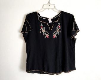 Black Embroidered Shirt Boho Hippie Peasant Blouse Ethnic Bohemian Floral Short Sleeve Top Vintage Embroidery Festival Shirt Folk Tee