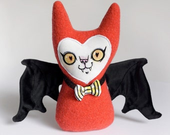 Stuffy Bat - Handpainted face with felted wool, velvet and faux leather