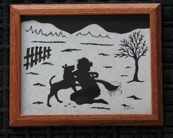 Girl and Dog In Snow - Custom Personalized  - Scherenschnitte - Hand Paper Cutting Art signed and dated By Janet Lynch - Framed