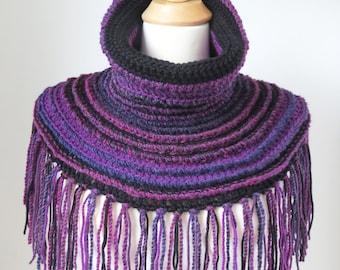 Purple Neck Warmer, Ultra Violet Shawl Unique Fringed Boho Clothing, Vegan Shoulder Warmer Cowl