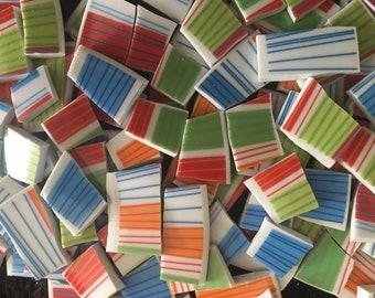 Mosaic Tiles From Broken Plates 100 Rainbow Stripe Pieces