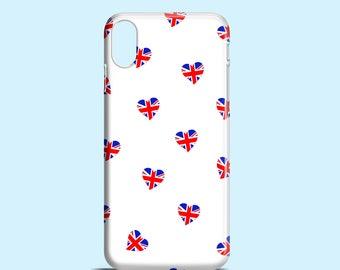 Union Jack Hearts iPhone X case / iPhone 8 case / cute iPhone 8 case / British flag iPhone 7 case / Heart iPhone se / graphic iPhone 6 case