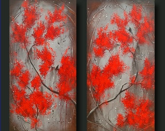 Red Trees, Bird on Branch, Asian Inspired, Zen Art, Japanese Cherry Blossom Tree, 12x24 each Secret Garden Encounter