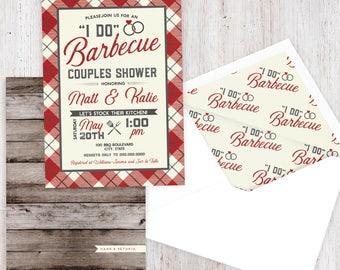 BBQ Couples Shower Invitation, Barbecue Bridal Shower Invite, Couples Shower Invite, Wedding Shower Invitation, Envelope Liner