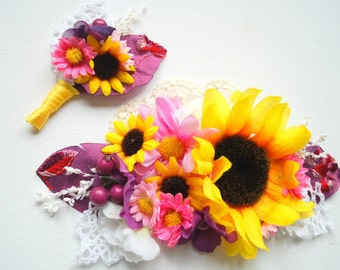 sunflowers bridal comb, grooms boutonniere, weddings hair accessories, country farm rustic wedding, plum purple lilac yellow pink,