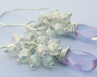 Sterling Silver Wire Wrapped Earrings With Lavender Teardrop Crystal Quartz  With Pearlised Czech Glass