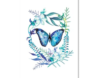 Blue Butterfly and Florals  -Print