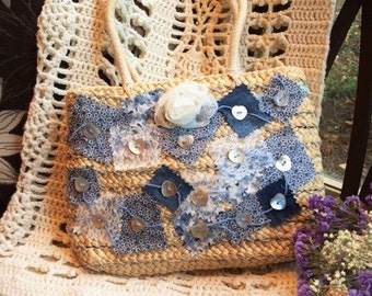 Up cycled Straw Purse With Patchwork And Lace