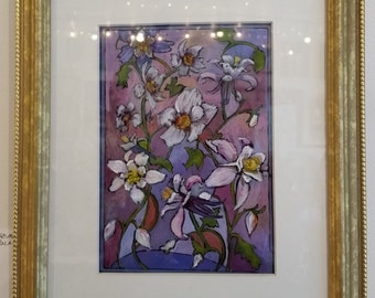 Original Painting - Flowers - Columbine and Almond Blossoms - 9 X 11 Inches - White Mat - Gold Frame - Acrylic Paint on Glass