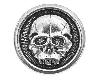 2 TierraCast Scary Skull 5/8 inch ( 16 mm ) Silver Plated Pewter Buttons
