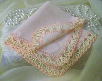 Lace Handkerchief, Hanky, Hankie, Hand Crochet, Peach, Cream, Lacy, Bridesmaids, Custom Embroidered, Personalized, Monogrammed, Ships quick