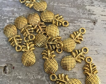 100 pineapple charms beads beading supplies pineapple pendants beaded bracelet pineapple jewelry