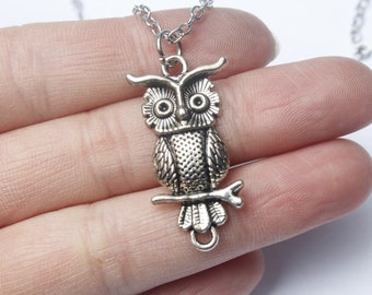 silver owl necklace, Small owl necklace, dainty bird on branch pendant necklace, everyday jewelry, holidays gift