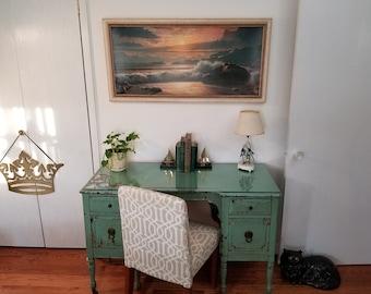 "Vintage 60's James Fetherolf ""Sunset Splendour"" seascape framed litho. Huge Retro Statement Piece over Sofa, French Doors. Ocean Beach art."