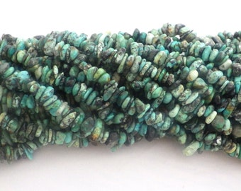 African Turquoise Chip Beads 5x8mm