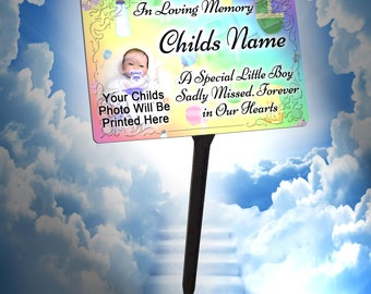 Your Photo Personalised Baby Boy Memorial Plaque & Stake. UV Protection.