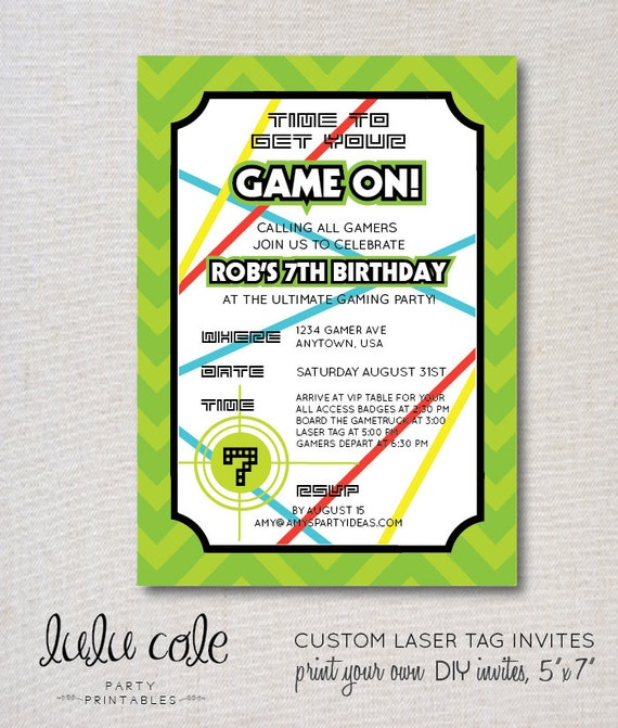 Gamer party invitation laser tag invitations glow party stopboris Choice Image