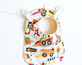 Baby Boy Bib, Adjustable Bib with Dump Trucks, Construction, Tot Town Dig It